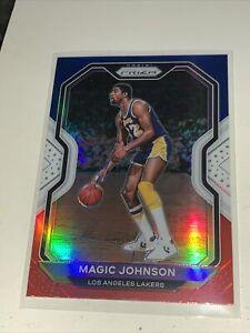 2020-21 Panini Prizm Magic Johnson Red, White, Blue #219 LA Lakers