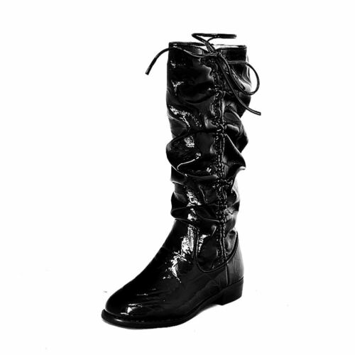 CLEARANCE Older Girls Black patent rouched upper calf length flat boots