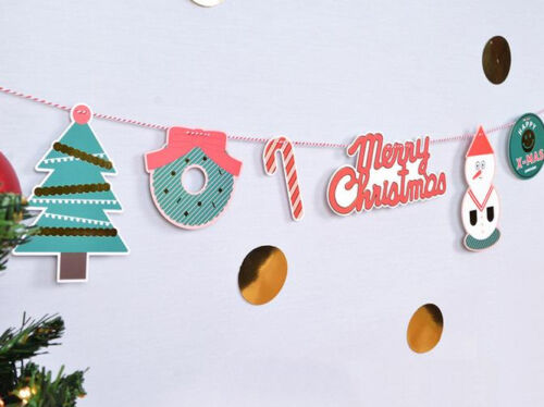 Christmas Banner Bunting Flags Garland Party Home Decor PT006