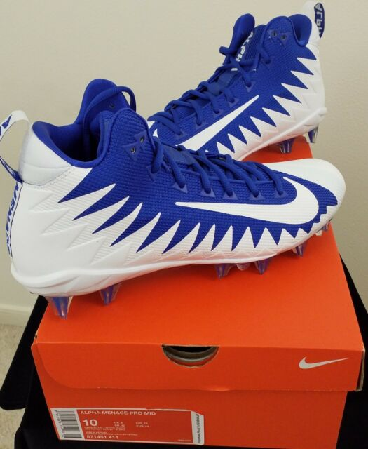 0007696eb Nike Alpha Menace Pro Mid Football Cleats Game Blue White Pk Sz ( 871451-