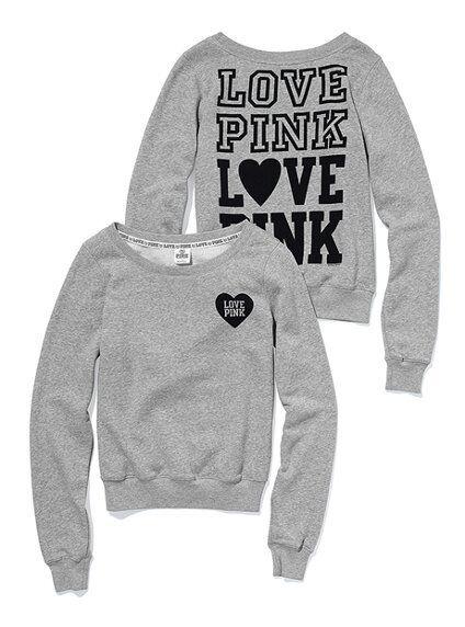 Victoria's Secret PINK crew sweatshirt grey NEW!!