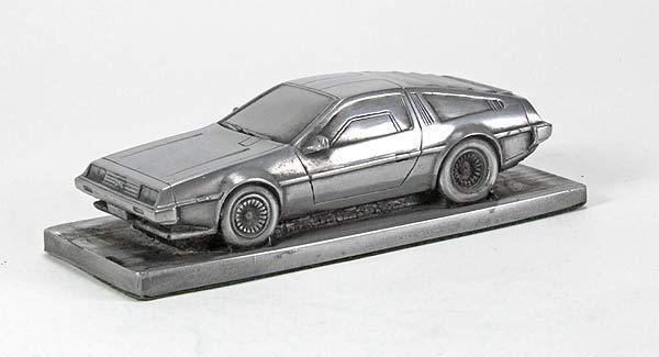 De Lorean DMC 12 Fluted Bonnet Pewter Effect Model Car 01DL