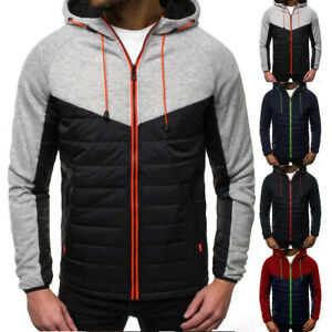 Mens-Padded-Bubble-Hooded-Coat-Puffer-Jacket-Overcoat-Winter-Warm-Bomber-Outwear