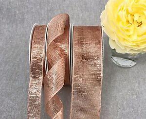 Wired Rose Gold Ribbon Metallic Mesh Xmas Wedding Bow Tree Sold By The Metre Ebay
