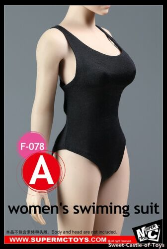 1//6 SuperMCToys Accessorio-Nero Women/'s Donna Nuoto Suit F-078A per Phicen