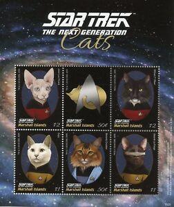 Belle Marshall Islands 2018 Mnh Star Trek Next Generation Cats Picard 6v M/s I Stamps Construction Robuste