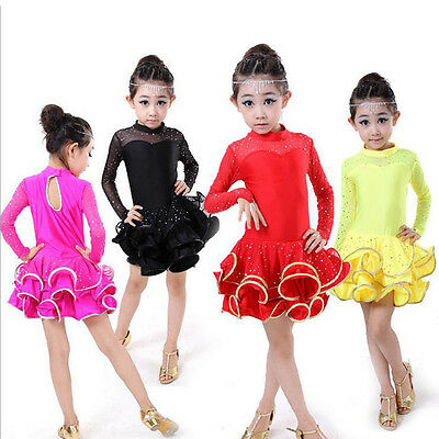 Red Girls Professional Latin Dancewear Costumes Kids Ballroom tutu Dance Dress