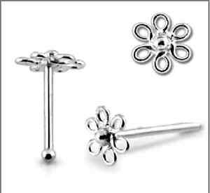 1-22g-6mm-925-Sterling-Silver-Flower-Nose-Stud-Ring-Bar-Pin-Tipped-Piercing-N055