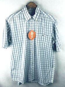 LACOSTE-Mens-Shirt-DEVANLAY-CHAMBRAY-CHECK-Short-Sleeve-Size-40-Medium-P64
