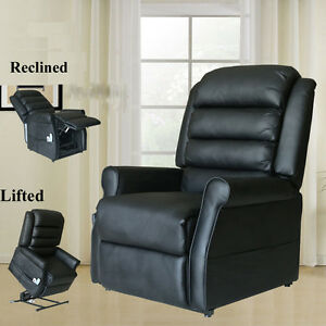 Electric Power Lift Chair Leather Heated Massage Recliner Sofa ...