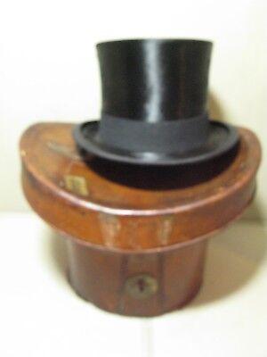 Antico Vintage In Pelle Top Hat Caso Ascot-mostra Il Titolo Originale Circolazione Del Sangue Tonificante E Arresto Del Dolore