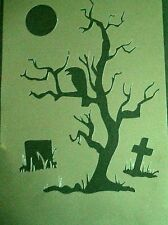 NEW NA1.2 Tree Cross Crow Gravestone AIRBRUSHING Stencil Template 240mic Clear