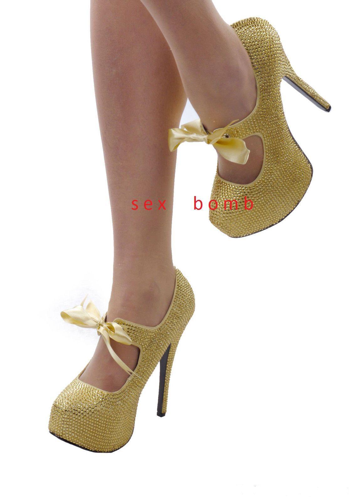 SEXY plateau scarpe donna oro strass plateau SEXY invisibile TACCO 14,5 dal 36 al 42 GLAMOUR! 17da73