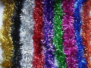 2m-6-5-Ft-Christmas-Tinsel-Tree-Decorations-Tinsel-Garland-RED-SILVER-GOLD