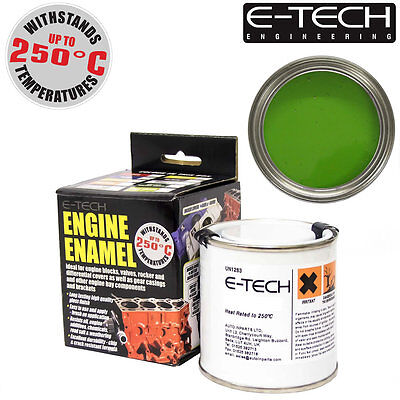 E-Tech LIME GREEN Heat Resistant Engine Enamel Paint 250ml **NEW** High Temp