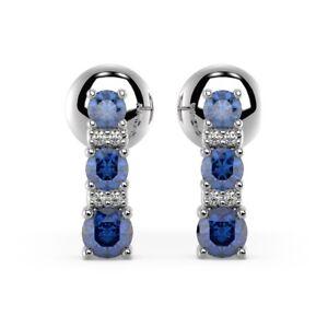 100-Natural-0-50-carat-Sapphire-amp-Diamond-Tower-Earrings-White-Gold