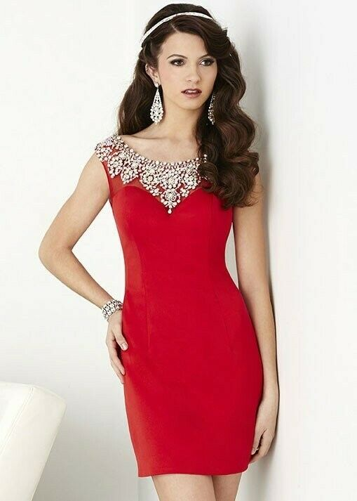 Hannah S #27016 Size 8 Red Dress Short NWT Sexy Bead Top