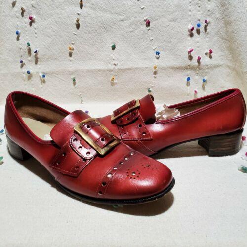 Vintage 1970s Leather Pilgrim Buckle Loafer Shoes