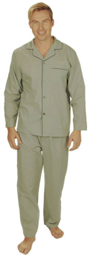 Mens Soft Touch Traditional Style Pyjama Set ~ Check Stripes or Plain ~ Upto 5XL
