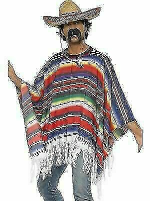 Mens Mexican Poncho Wild West Bandit Stag Do Adult Cowboy Fancy Dress Costume