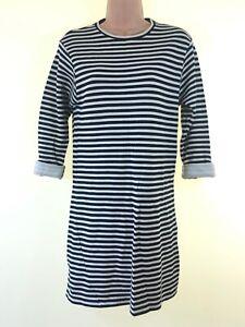 TOPSHOP black & cream stripe loose fit nautical jersey sweatshirt dress size 8