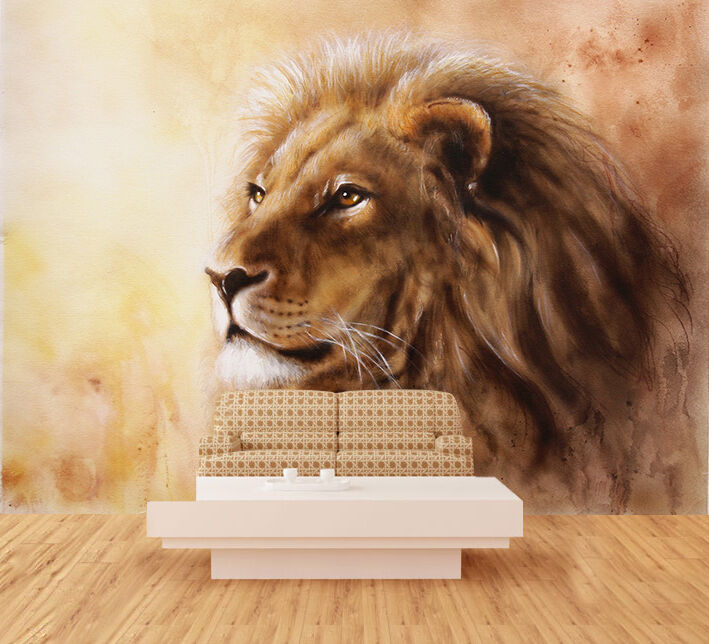 3D Großer Löwe 44 Fototapeten Wandbild Fototapete Bild Tapete Familie Kinder | Spielen Sie das Beste  | Deutschland München  | Großartig