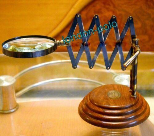 VINTAGE TABLE TOP BRASS MAGNIFYING GLASS WOOD BASE DESKTOP MAGNIFIER CHAINNER