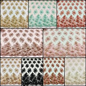 3D Flower Beaded Lace Fabric with Embroidery on Polyester Mesh - Item # 683