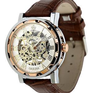 Vintage-Retro-Herren-Uhr-Handaufzug-Mechanisch-Edelstahl-Leder-Armband-Uh-eejj