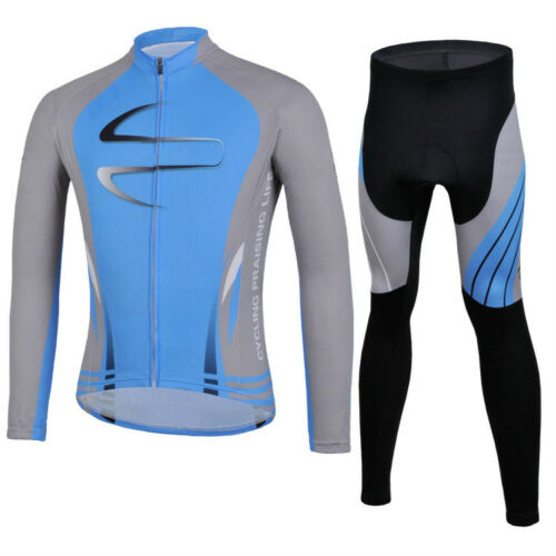 Bicycle Winter Clothing Set Mens Cycling Jersey Long Sleeve Pants Red//Blue S-5XL