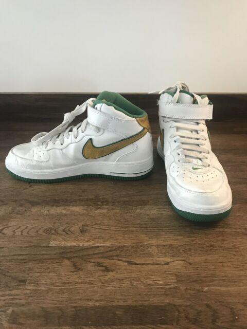 nike air force 1 AF1 82 High Top Trainers Size 7 Green Yellow Swoosh