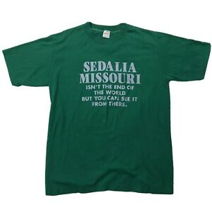 Vtg-Sedalia-Missouri-See-The-End-Of-The-World-Shirt-Sz-Large-Green-Silver-Tee