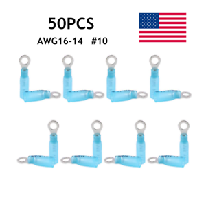 50PCS Heat Shrink Ring Terminals Wire Connectors Blue 16-14AWG Gauge #10 Hole