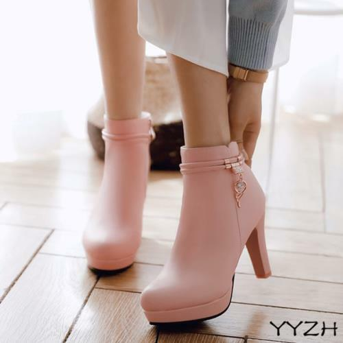 Women Rhinestones Block High Heel Round Toe Casual Ankle Short Boots Party Shoes