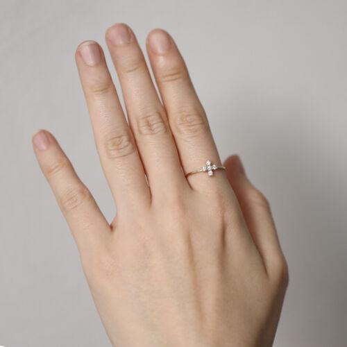 Diamond Cross Ring Promise Propose Stacking Cross Ring Diamond Wedding Band