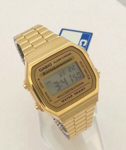 db5c76a73cb CASIO Digital Classic A168WG-9 GOLD tone A168 series New Illuminator ...