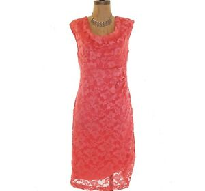 Nordstrom-Dress-Size-M-L-Coral-Stretch-Floral-Lace-Cowl-Neck-Sleeveless-EUC-B18
