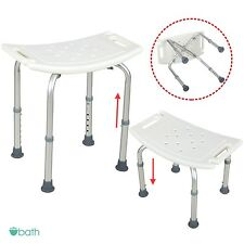 Adjustable 6 Height Medical Shower Chair Bath Tub Seat Bench Stool White