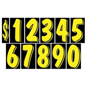7 1//2 Inch Chartreuse Numbers Windshield Pricing Stickers Car Dealer You Pick