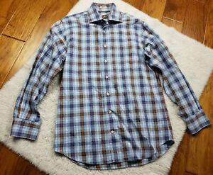 Peter Millar Button Up Long Sleeve Shirt Plaid 100% Cotton Men's Size Medium