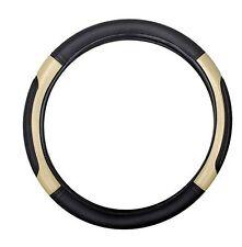 Car Black&Beige Leatherette Size M Steering Wheel Cover HYUNDAI Xcent/Verna/ I20