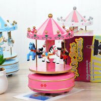 Kids Girls Rotary Horse Carousel Music Box Toy Clockwork Musical Birthday Gift