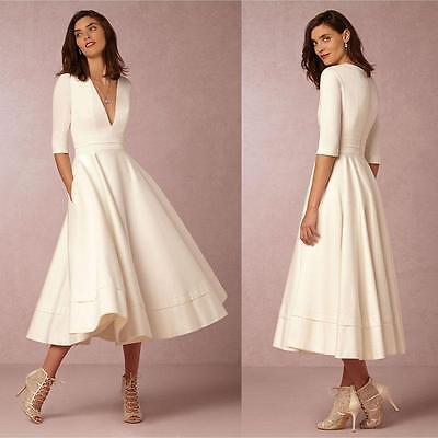 Fashion Women's 3/4 Sleeve V-Neck White Evening Cocktail Party Midi Long Dress