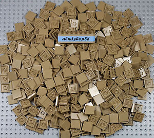 LLEGO - 2x2 Tiles Dark Tan - Finishing Smooth Plates Flat Square 3068b Bulk Lot