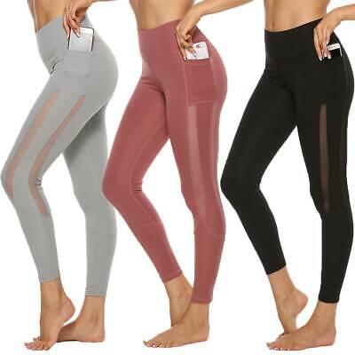 Women/'s Yoga Leggings Pockets Ladies Push Up Compression Fitness Sports Pants