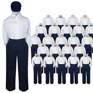 23 Color 4 pc Set Bow Tie Boys Baby Toddler Kid Formal Suits Navy Hat Pants S-7