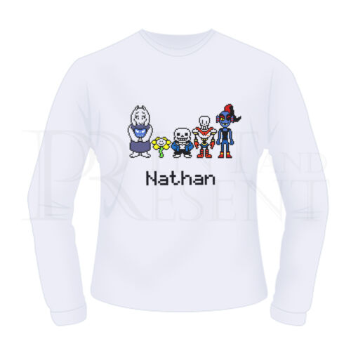 Personalised Boys Girls Undertale Pixel Long Sleeve T-Shirt White
