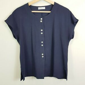 SANDRA-VIDEN-Womens-Navy-Button-up-Top-Size-AU-10-or-US-6