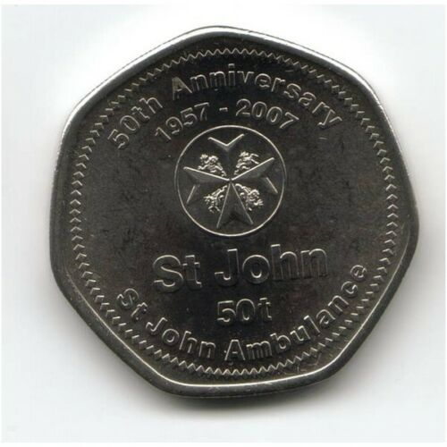 JOHN/'S ANNIVERSARY PAPUA NEW GUINEA 50 TOEA 2007 KM # 53 HIGH GRADE COIN ST