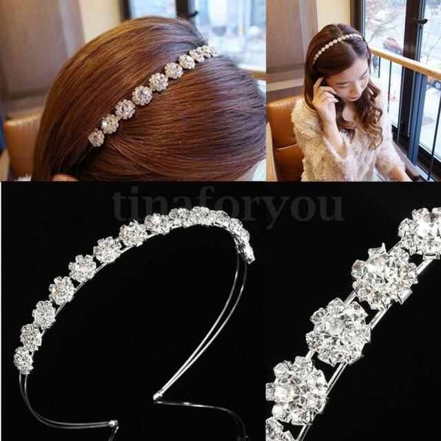 CRYSTAL RHINESTONE FLOWER CROWN TIARA WEDDING PROM BRIDE HAIRBAND HEADPIECE
